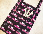Clothespin Bag- Peg Bag- Organizer- Laundry- Pink Herse