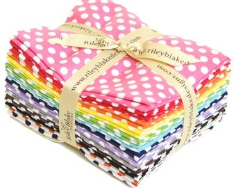 Dots Small Fat Quarter Bundle by Riley Blake Designs for Riley Blake, 14 pieces