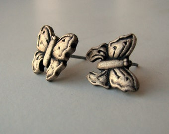 Butterfly earrings bronze and surgical steel