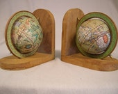 Vintage 1970s Wood World Globe Bookends. Free Shipping