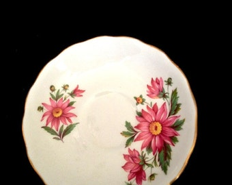 Royal Vale Tea Saucer -- Crimson Zinnias on Pure White English Bone China, Lovely Vintage Piece
