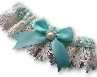 Wedding Garter , with Something Blue Aqua Ribbon and guipure Venise Lace