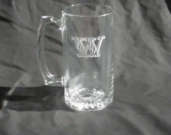 9 Custom Engraved Monogrammed Groomsmen Beer Mugs