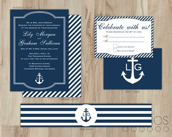 DIY Nautical Wedding Invitation Suite // Custom Printable