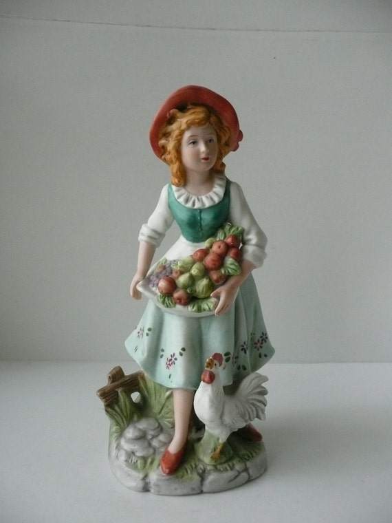 CLEARANCE - Homco Porcelain Farm Girl with Fruit and Chicken Figurine