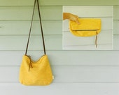Yellow cross-body bag / fold over clutch with removable strap