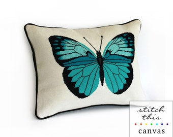 turquoise butterfly modern needlepoint canvas - elegant entomology - diy - contemporary