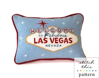 las vegas retro modern needlepoint pattern - diy - contemporary - pdf - instant downlaod