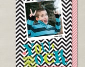 You Rock Chevron Valentines Day Double-sided Photo Card (Digital or Printed) - Great for School Party