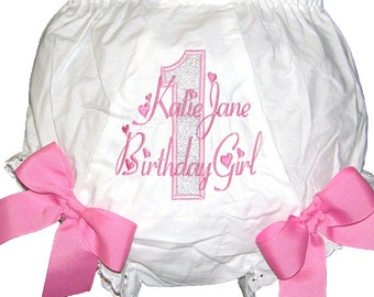 Birthday 1st, 2nd, 3rd Baby Girl  Bloomers, Diaper Cover, Panties Free Shipping
