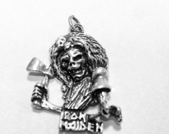 Vintage Iron Maiden Necklace Pendant Heavy Metal Steve Harris London 70s Band Eddie the Head Mascot Sterling Silver 925