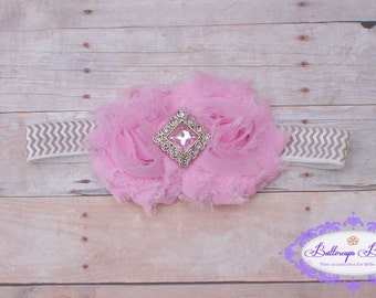 Baby headband, infant headband, newborn headband, pink shabby flower on gray chevron headband