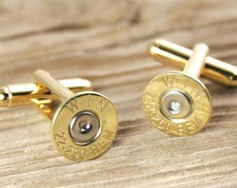 Bullet Cufflinks, Wedding Cufflinks, 22-250 Cufflinks, Thin Gold Tone WIN-22250-BN-CL, Bridal Cufflinks, Recycled Cufflinks, Rifle Cufflinks