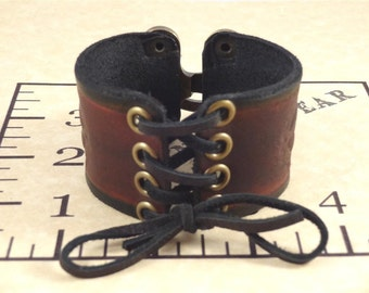 Steampunk / Victorian Corset Tie Leather Bracelet / Bracer with Metal Swing Clasp