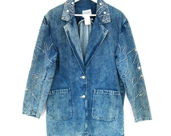 80's 90's Acid Wash Oversized Denim Blazer Coat  size - M