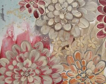 Abundance Zinnias No 15... 16x20 canvas Original Abstract Painting