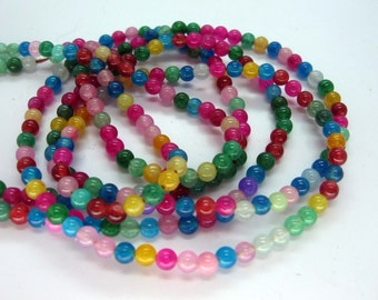 Full Strand Small Multicolor jade Round Beads 3mm