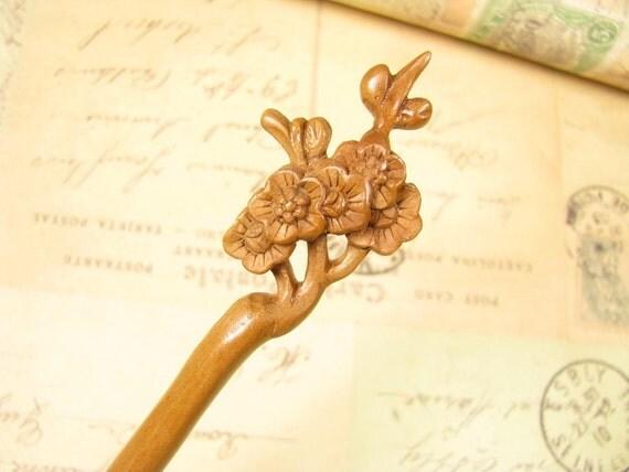 Peach Wood Hair Stick - Plum Blossom
