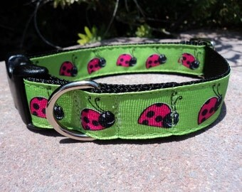 """Sale Dog Collar Hot Pink Ladybugs 1"""" wide adjustable side release buckle - martingale style is cost upgrade"""