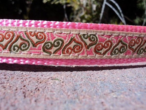 """Small Dog Collar 3/4"""" width Side Release buckle adjustable Open Hearts - see 1"""" & 1.5"""" widths within - martingale is cost upgrade"""