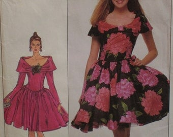 Fitted Bodice Evening Dress Pattern, Off Shoulder, Wide Collar, Petticoat, Full Skirt, Simplicity No. 8715 Size 12 UNCUT OR Size 14 (cut)