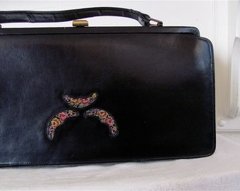 The 1950's Black Leather with Crescent Moon Petit Point Pocketbook