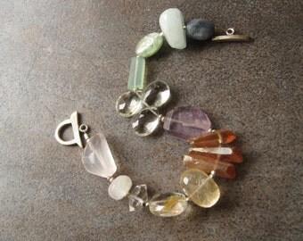 Multi Gemstone Spring color Gemstone Bracelet Aquamarine Amethyst Green Yellow Quartz Kyanite Rose quartz Herkimer Diamond