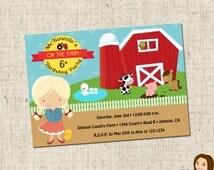 PRINTABLE Girl on the Farm Party Invitation #559