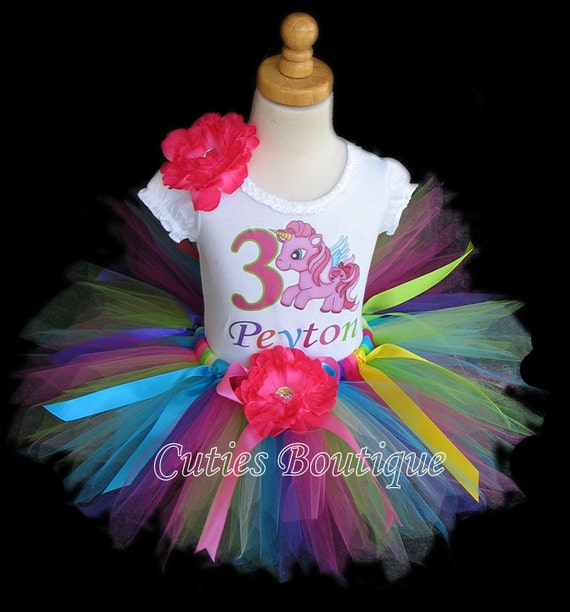 Pony Birthday Outfit Set With Tutu And Personalized Shirt --All Sizes 6 9 12 18 24 Months 2T 3T 4T