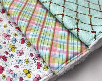 Contoured or Rectangular Burp Cloth Set (Your Choice) - Baby Girl Burp Cloths - Butterflies, Birds, and Pastel Plaid - Baby Girl Shower Gift
