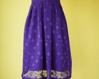 purple chiffon pleated skirt