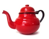 Vintage Red Teapot, Enameled Teapot Made in Poland, Serving-ware, Collectible Home Decor
