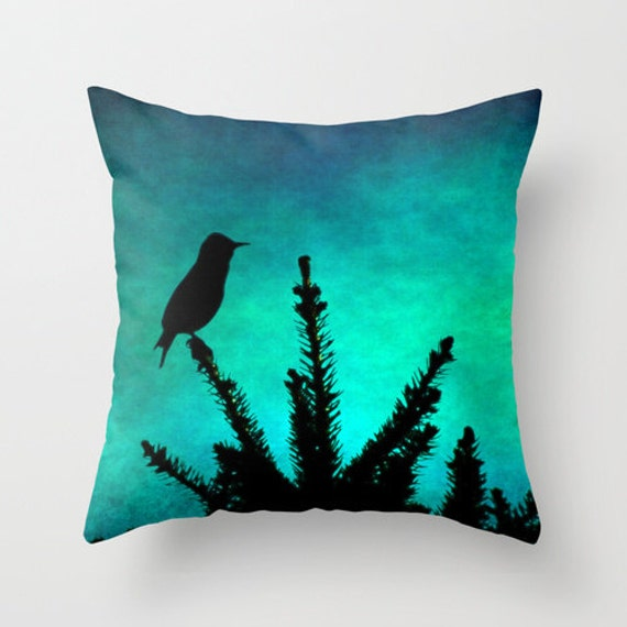 Throw Pillow Cover Teal Bird Silhouette by SylviaCPhotography