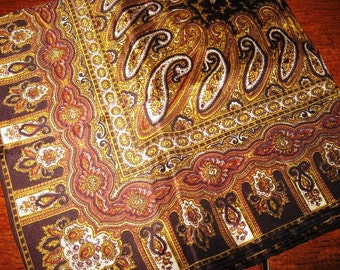 Vintage Brown and Gold Paisley Scarf