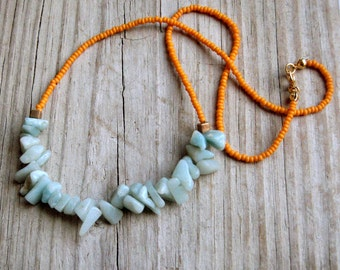 choker necklace seafoam with orange czech glass