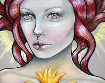 Celtic goddess fire sacred heart Pagan Brighid 11x14 fine art print