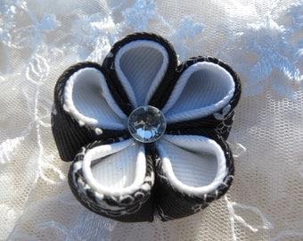 Hair Clip Ribbon Kanzashi Flower Black and White Paisley Print  Flower Hair clip