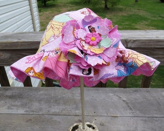 Reversible Girl Cotton Sun Hat in Disney Princess Fabric Print