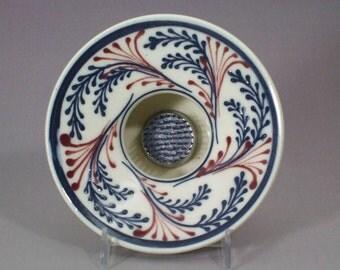 Stoneware Ikebana Vase  Pin Vase Wedding centerpiece Blue Wheat with Red Accents