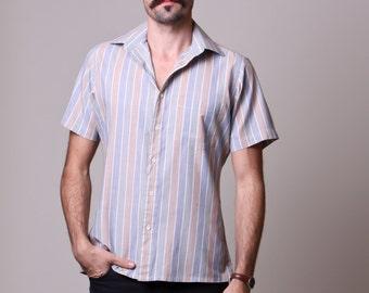 Medium - 80s Mens Shirt - Vintage Striped Shirt - Tan Green Blue Striped Shirt - Short Sleeves