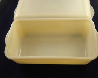 Fire King Ivory Loaf Dishes Two Sizes Anchor Hocking