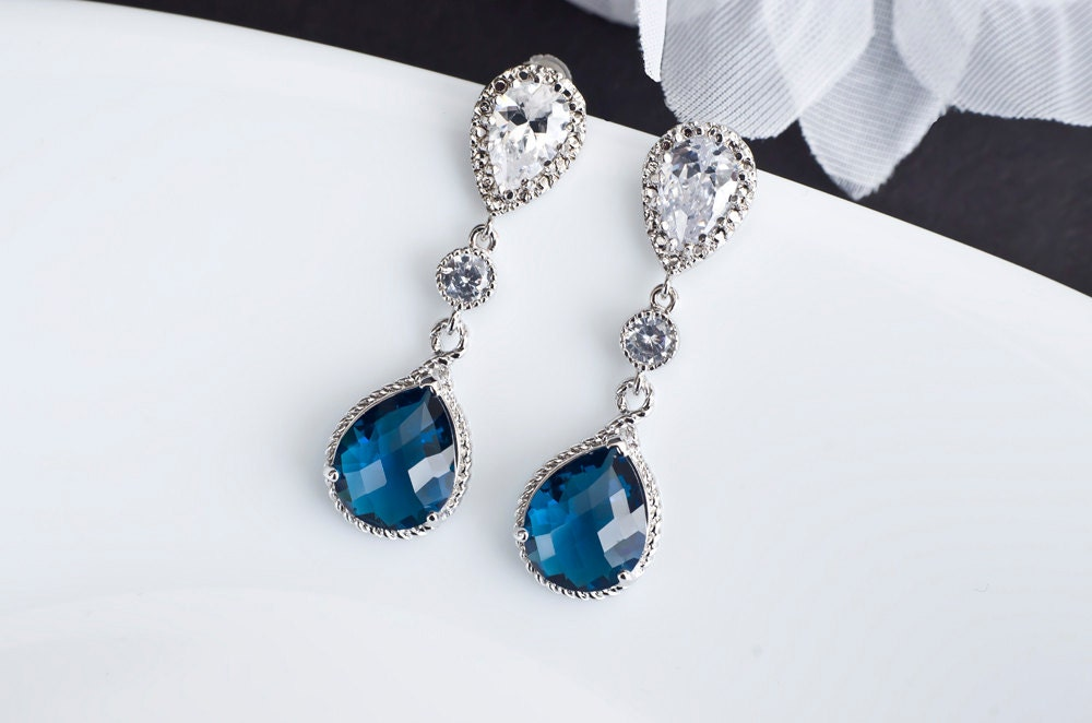 Sapphire Earrings Blue Sapphire Bridal Earrings Cubic