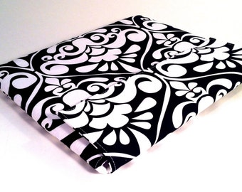 iPad Case, iPad Cover, iPad Sleeve in black and white damask