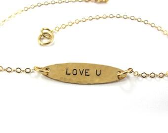 Handstamped  Bracelet - LOVE U Bracelet - 14k Gold-Filled