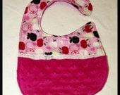 Pink Apples Minky Newborn to Toddler Pocket Baby Girl Bib