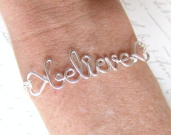 Believe Bracelet or Personalized Name Silver Copper Gold Bride Bridesmaid Friendship BFF Jewelry Gifts Under 20