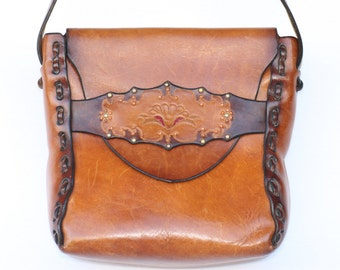 Beautiful large, vintage handmade, hand tooled/painted, studded boho leather hippie shoulder bag.