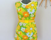 RESERVED Vintage Hippie Boho Flower Power Dress Daises Vintage Flower Power Dress