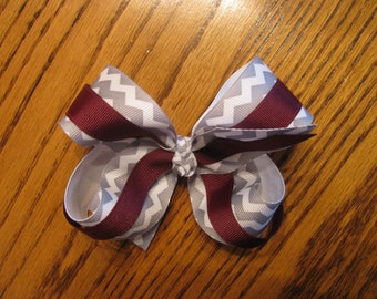 2520 Aggie maroon and gray and white chevron double ribbon bow