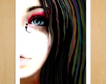 Illustration Art Print - All the Beautiful Colors v1 - Etsy inspired boho hipster tattooed painter with multicolor hair portrait wall art